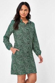 Green Animal Shirt Dress