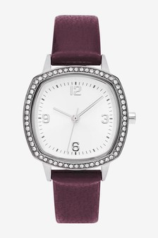 Berry Sparkle Square Case Watch