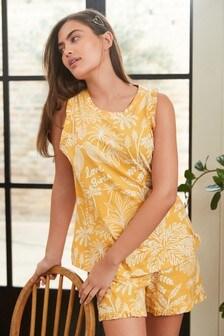 Yellow Organic Cotton Vest Short Set Pyjamas