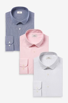 Navy/Pink Print And Texture Plus Fit Single Cuff Shirts 3 Pack
