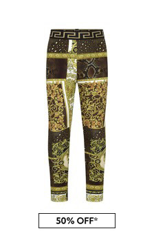 Girls Gold Cotton Leggings