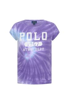 Girls Purple Cotton Tie Dye T-Shirt