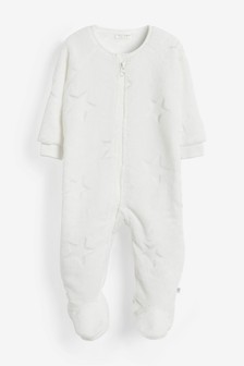Ecru Star Fleece Sleepsuit (0mths-3yrs)