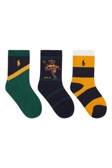 Multi Kids Bear Socks Three Pack
