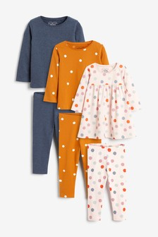 Pink/Rust Spot Dress, 2 Pack Tops And 3 Pack Leggings Set (3mths-7yrs)