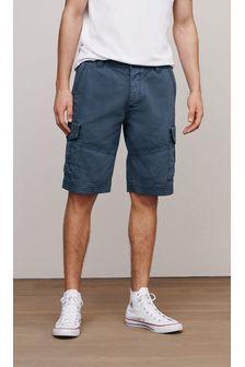 Vintage Blue Longer Length Premium Laundered Cargo Shorts