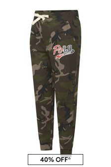 Boys Green Camouflage Logo Joggers