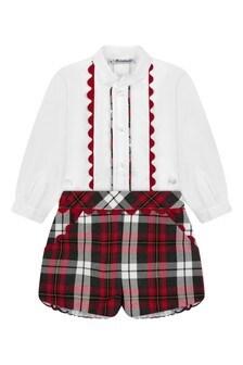Baby Boys Red Check Shorts Set