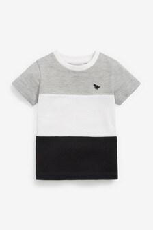 Grey/Black Colourblock Pique T-Shirt (3mths-7yrs)