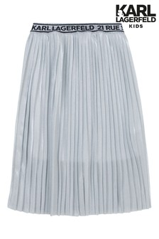 Karl Lagerfeld Grey Pleated Maxi Skirt
