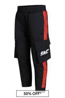 Boys Black Side Pocket Trousers