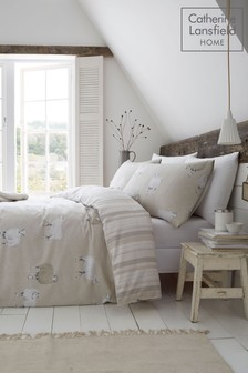 Catherine Lansfield Brushed Cotton Flannel Sheep Bed Set