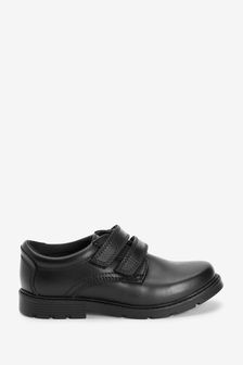 Black Standard Fit (F) Leather Strap Touch Fastening Shoes