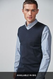 Navy Sleeveless V-Neck Jumper