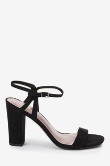 Black Block Heel Delicate Sandals