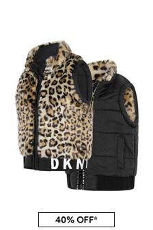 Girls Leopard Faux Fur Print Reversible Jacket