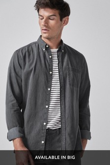 Black Slim Fit Denim Shirt