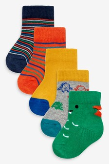 Bright 5 Pack Dinosaur Socks (Younger)