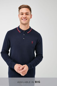 Navy   Tipped Polo