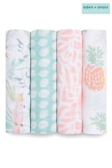 aden + anais™ Essentials Tropicalia Cotton Muslin 4 Pack Swaddle Blanket