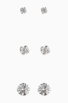 Sterling Silver Crystal Studs Three Pack