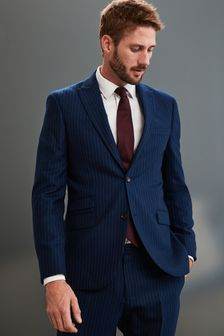 Blue Slim Fit Empire Mills Signature Stripe Suit: Jacket