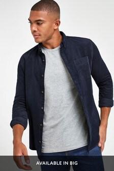 Navy Slim Fit Long Sleeve Cord Shirt