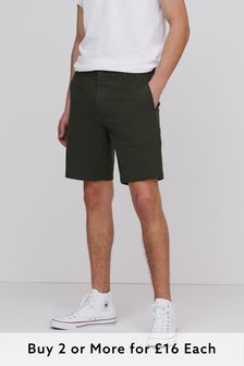 Dark Green Straight Fit Stretch Chino Shorts