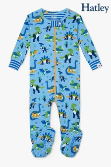 Hatley Blue Curious Dinos Organic Cotton Footed Coverall