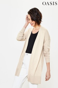 Oasis Stone Open Front Cardigan