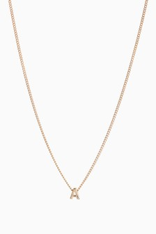 Gold Tone Initial Necklace