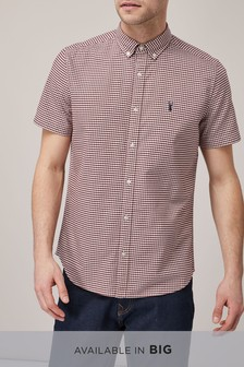 Burgundy/White   Short Sleeve Gingham Shirt