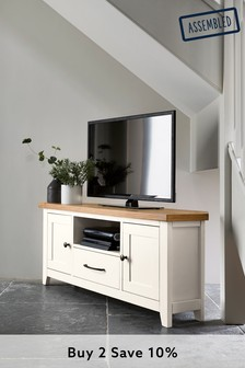 White Thornley Corner TV Stand