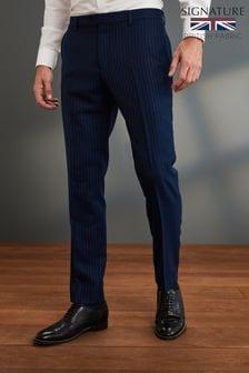 Blue Slim Fit Signature Stripe Suit: Trousers