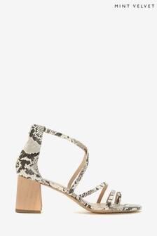 Mint Velvet Grey Florence Snake Strappy Sandals