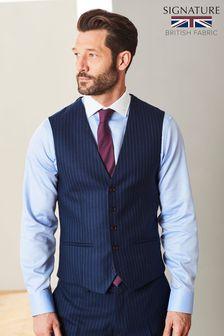 Blue Signature Stripe Suit: Waistcoat