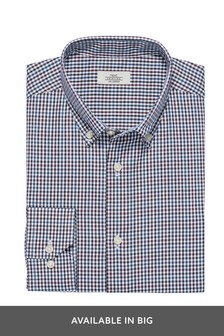 Gingham Check Regular Fit Single Cuff Button Down Shirt