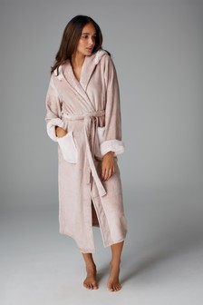 Light Pink Faux Fur Hooded Robe