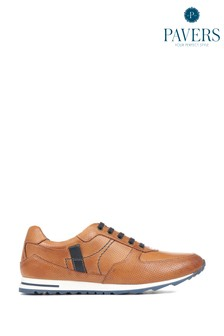 Pavers Tan-Navy Men's Sporty Leather Trainers