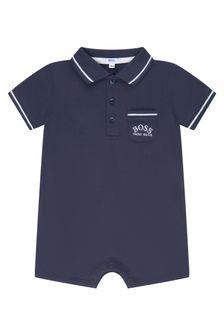 Boss Kidswear BOSS Baby Boys Navy Cotton Romper