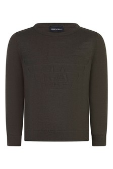 Boys Green Cotton And Wool Jumper