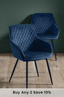 Opulent Velvet Navy Set of 2 Hamilton Arm Dining Chairs With Black Legs