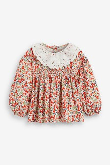 Red Floral Lace Collar Blouse (3mths-7yrs)