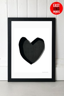 Black Heart Framed Print by East End Prints