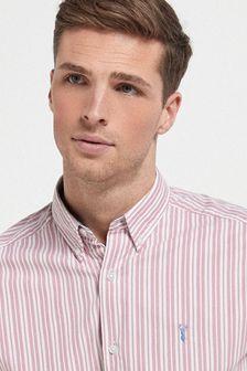 Pink Regular Fit Stripe Roll Sleeve Shirt