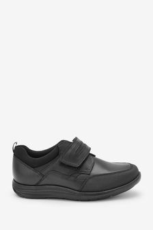 Black Standard Fit (F) Leather Single Strap Shoes