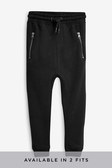 Black Tapered Leg Drop Crotch Zippy Cuffed Joggers (3-16yrs)