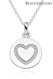 Beaverbrooks Sterling Silver Cubic Zirconia Heart Disc Pendant
