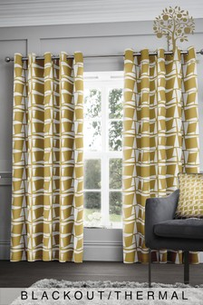 Appletree Leyton Geo Blackout/Thermal Eyelet Curtains