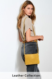 Ochre Yellow Leather Across Body Bag